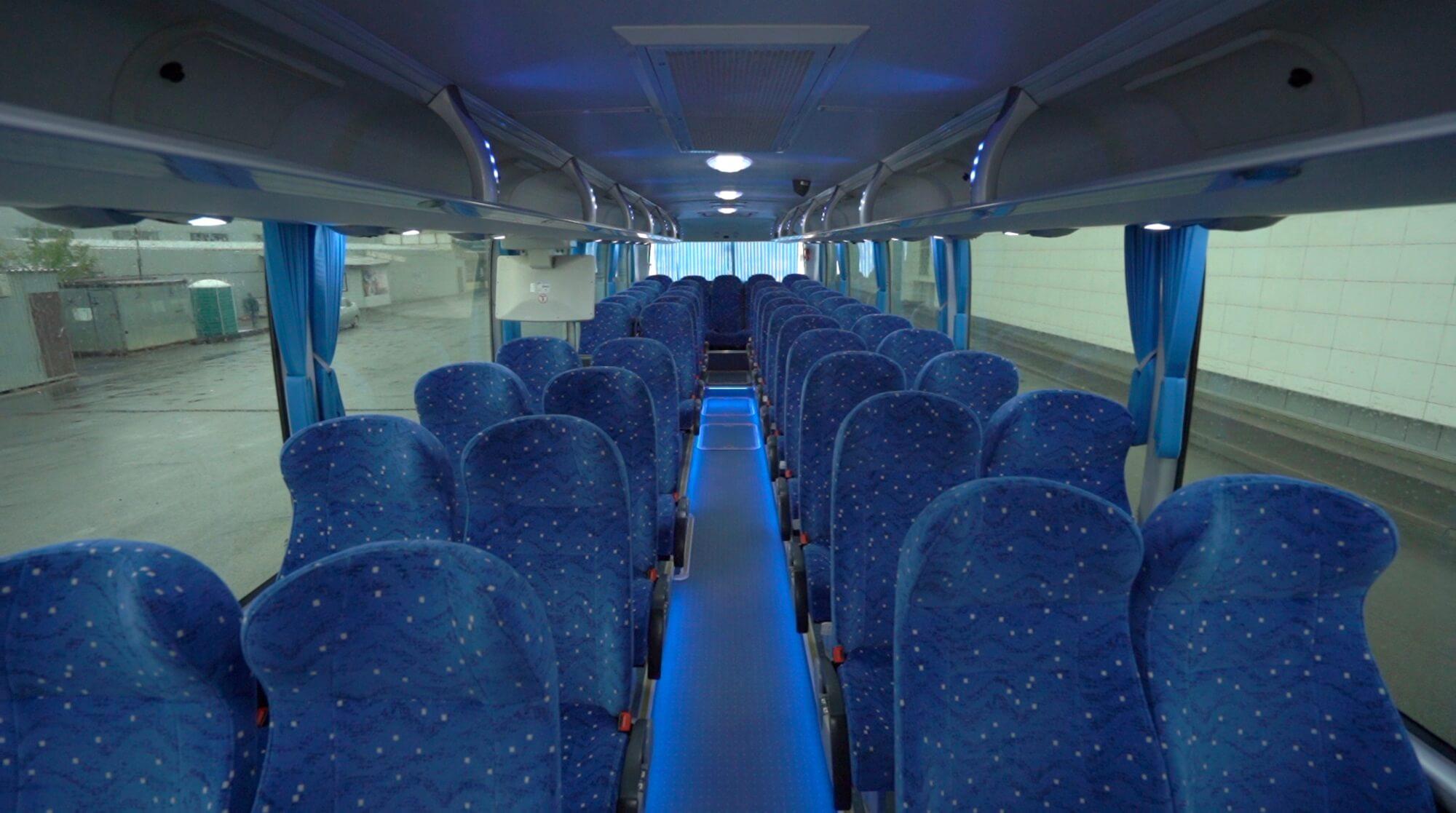 Пассажирские сидения в автобусе Yutong 6122Н9 2018 года 51+1 (без кулера с мягкими перегородками)